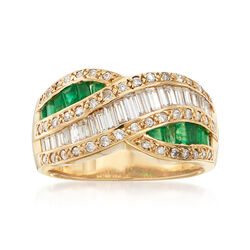 C. 1980 Vintage 1.02 ct. t.w. Diamond and .76 ct. t.w. Emerald Crossover Ring in 18kt Yellow Gold, , default