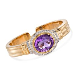 "C. 1980 Vintage 17.50 Carat Amethyst and 1.00 ct. t.w. Diamond Cuff Bangle Bracelet in 18kt Yellow Gold. 7"", , default"