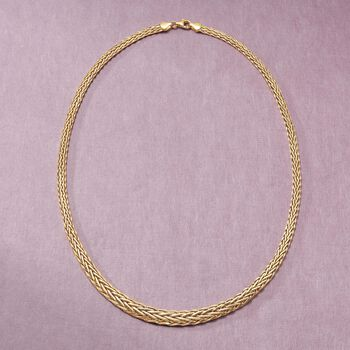 18kt Yellow Gold Graduated Wheat-Link Necklace
