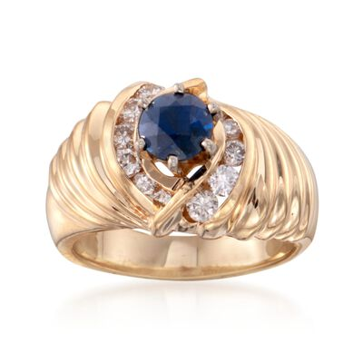 C. 1980 Vintage .95 Carat Sapphire and .60 ct. t.w. Diamond Ring in 14kt Yellow Gold  , , default