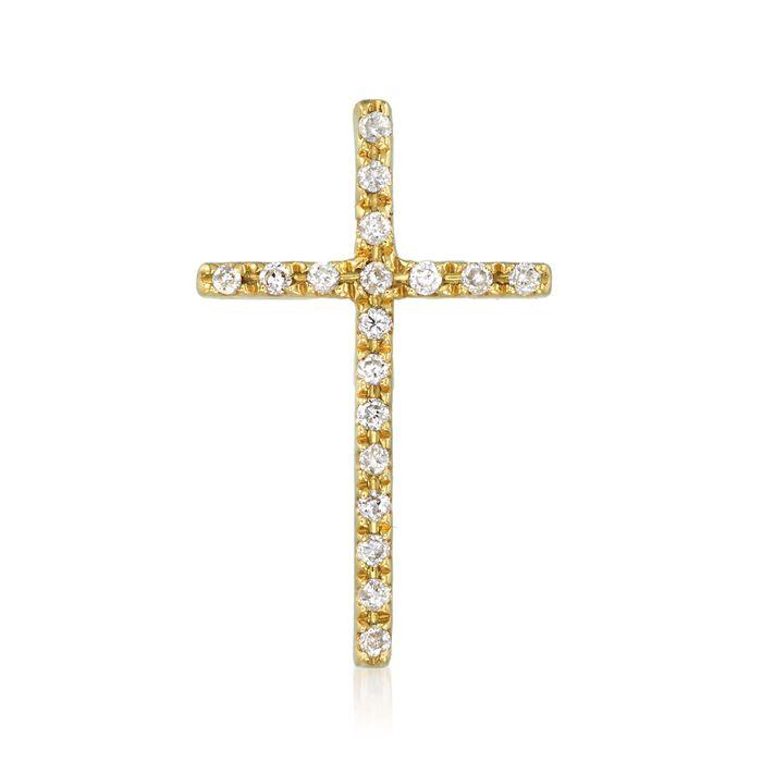 .10 ct. t.w. Diamond Cross Pendant in 18kt Yellow Gold , , default