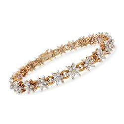 "C. 1980 Vintage 3.75 ct. t.w. Diamond Floral Link Bracelet in 18kt Yellow Gold. 7"", , default"