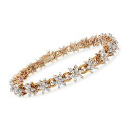 C. 1980 Vintage 3.75 ct. t.w. Diamond Floral Link Bracelet in 18kt Yellow Gold, , default