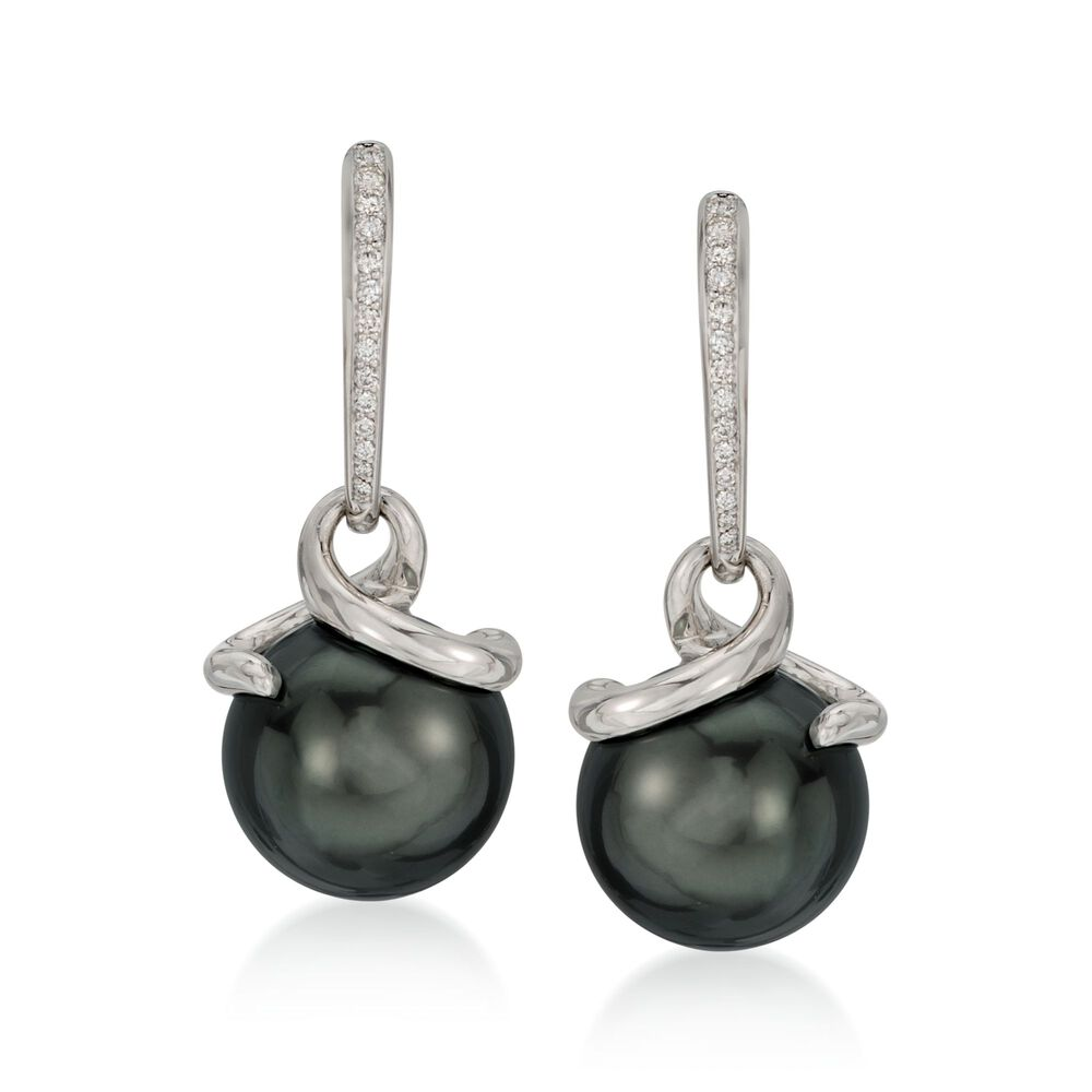 4382f55f5c56ae Mikimoto 11mm A+ Black South Sea Pearl and Diamond Earrings in 18kt White  Gold