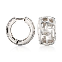 "Zina Sterling Silver ""Windows"" Huggie Hoop Earrings. 1/2"", , default"
