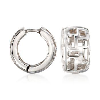 """Zina Sterling Silver """"Windows"""" Huggie Hoop Earrings. 1/2"""", , default"""