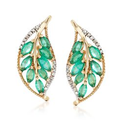 1.60 ct. t.w. Emerald and .12 ct. t.w. Diamond Leaf Earrings in 14kt Yellow Gold, , default