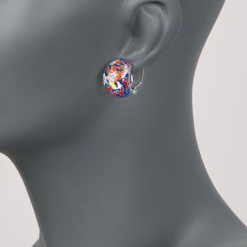 "Belle Etoile ""Seahorse"" Multicolored Enamel and .15 ct. t.w. CZ Half-Hoop Earrings in Sterling Silver. 5/8"", , default"