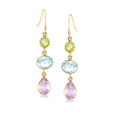 15.00 ct. t.w. Multi-Stone Drop Earrings in 18kt Yellow Gold Over Sterling Silver, , default