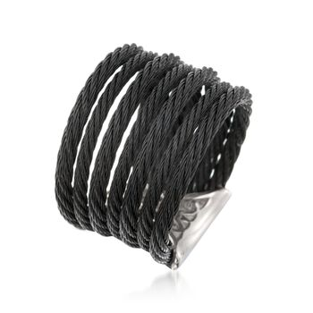 """ALOR """"Noir"""" Black Stainless Steel Multi-Cable Ring With 18kt Yellow Gold. Size 7, , default"""