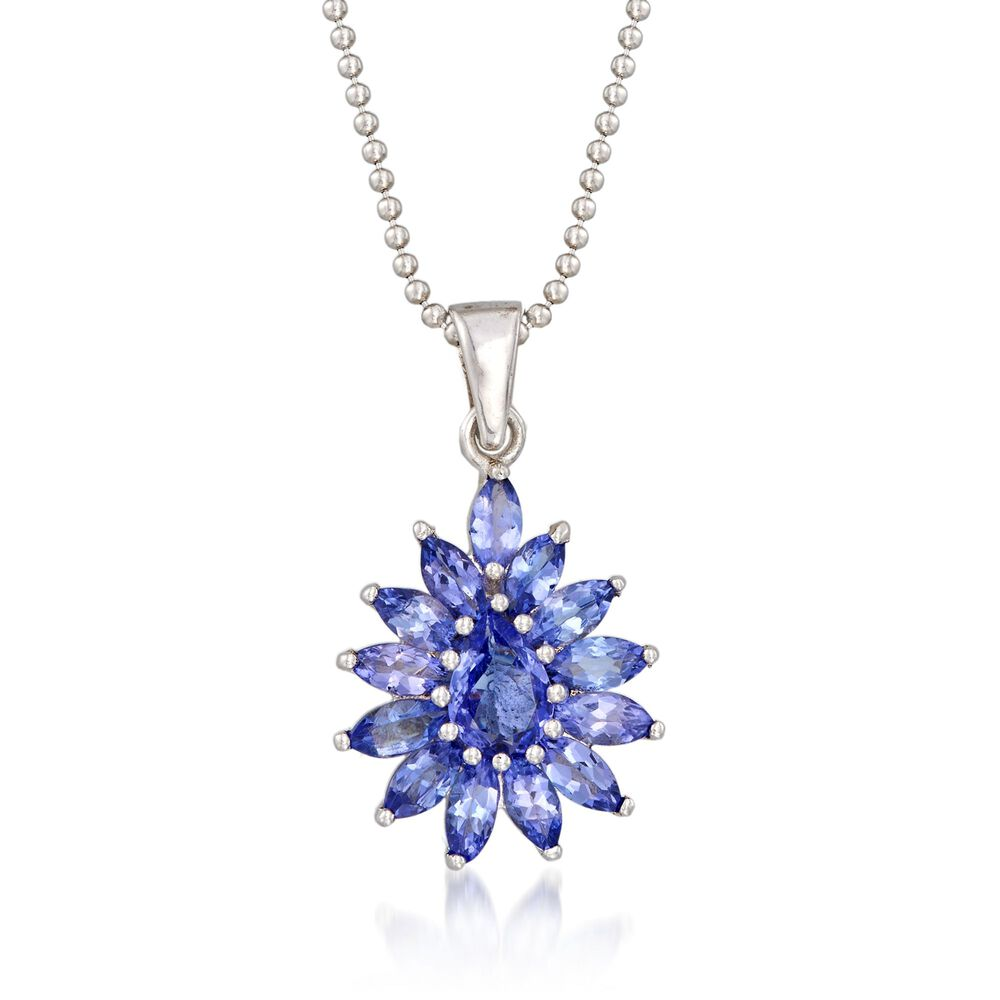 220 ct tw tanzanite cluster pendant necklace in sterling silver tw tanzanite cluster pendant necklace in sterling silver 18quot aloadofball Images