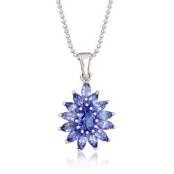 "2.20 ct. t.w. Tanzanite Cluster Pendant Necklace in Sterling Silver. 18"", , default"