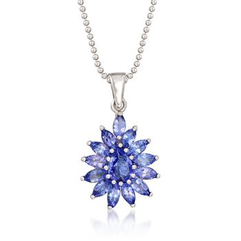 """2.20 ct. t.w. Tanzanite Cluster Pendant Necklace in Sterling Silver. 18"""", , default"""
