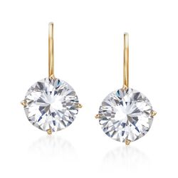 4.00 ct. t.w. CZ Drop Earrings in 14kt Yellow Gold , , default