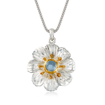 1.20 Carat Blue Topaz Floral Pendant Necklace in Two-Tone Sterling Silver, , default