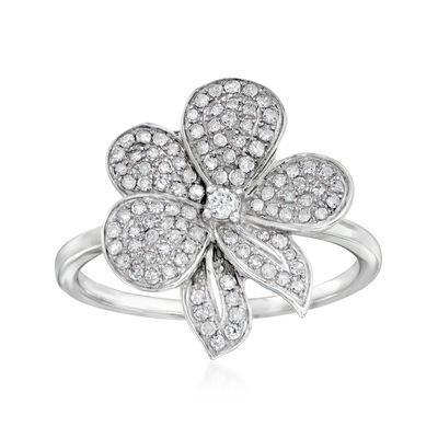 .35 ct. t.w. Diamond Flower Ring in 14kt White Gold, , default