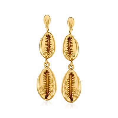 Italian 14kt Yellow Gold Puka Shell Drop Earrings