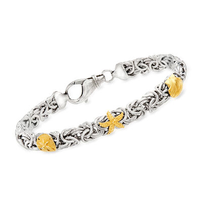 Sterling Silver Byzantine Sea Life Station Bracelet with 14kt Yellow Gold