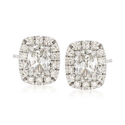 Henri Daussi 1.36 ct. t.w. Diamond Halo Stud Earrings in 18kt White Gold  , , default