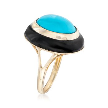 Synthetic Turquoise and Black Agate Ring in 14kt Yellow Gold, , default