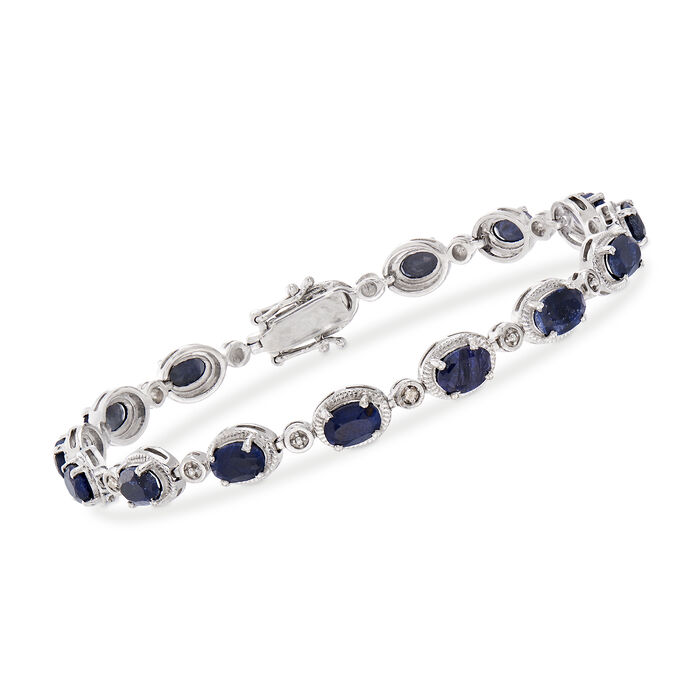 """10.50 ct. t.w. Sapphire Bracelet with Diamond Accents in Sterling Silver. 8.25"""", , default"""