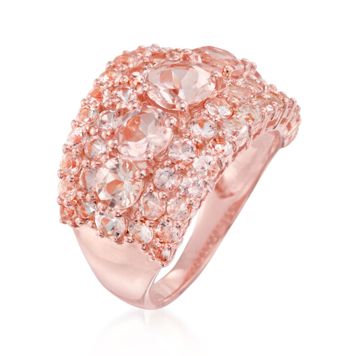 4.10 ct. t.w. Morganite Ring in 18kt Rose Gold Over Sterling