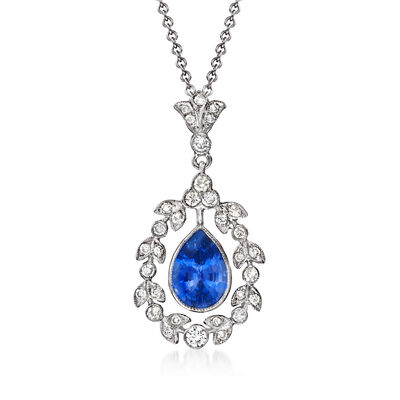 C. 2000 Vintage 1.55 Carat Sapphire and .40 ct. t.w. Diamond Pendant Necklace in 18kt and 14kt White Gold