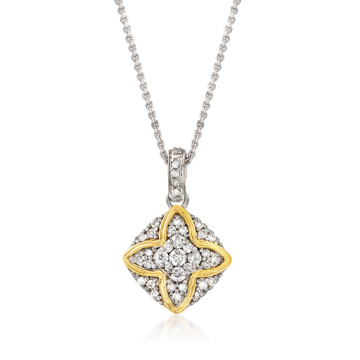 .43 ct. t.w. Diamond Pendant Necklace in Sterling Silver with 14kt Yellow Gold