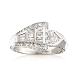C. 1970 Vintage 1.10 ct. t.w. Diamond Crossover Ring in Platinum. Size 6.5, , default