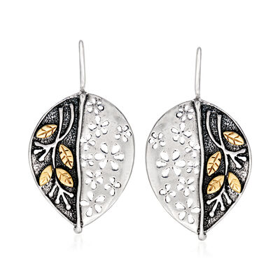 Sterling Silver and 14kt Yellow Gold Leaf Drop Earrings, , default