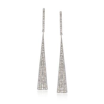 1.00 ct. t.w. Pave Diamond Triangle Drop Earrings in Sterling Silver, , default