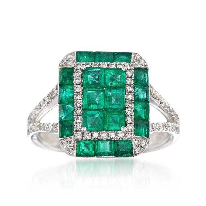 Gregg Ruth 1.80 ct. t.w. Emerald and .34 ct. t.w. Diamond Ring in 18kt White Gold. Size 6.5, , default