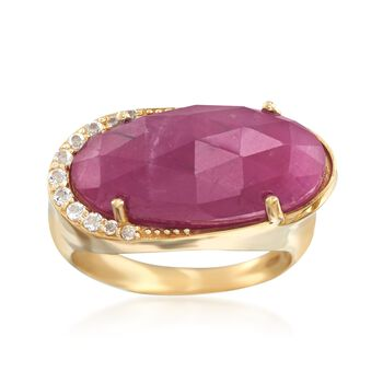 12.00 Carat Pink Sapphire Ring With .14 ct. t.w. White Topaz in 18kt Gold Over Sterling, , default