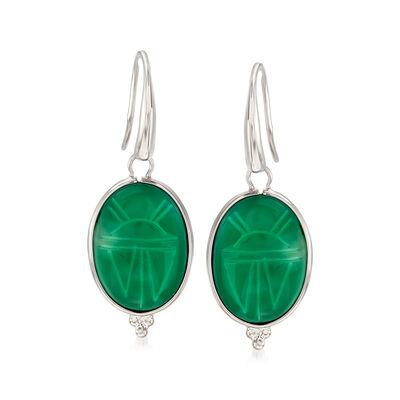 Green Agate Scarab Drop Earrings in Sterling Silver, , default