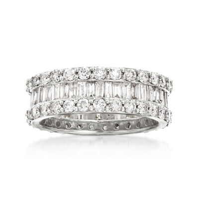 3.00 ct. t.w. Round and Baguette Diamond Eternity Ring in 14kt White Gold, , default