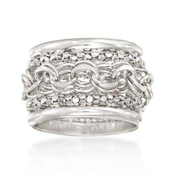Sterling Silver Multi-Link Ring, , default