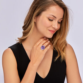 C. 1980 Vintage 21.10 Carat Amethyst and 1.23 ct. t.w. Diamond Ring in Platinum. Size 7, , default