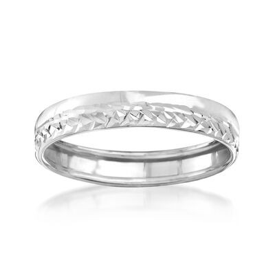 Italian 14kt White Gold Diamond-Cut Ring, , default
