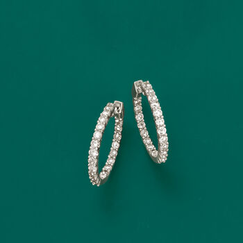 "2.00 ct. t.w. Diamond Inside-Outside Hoop Earrings in Sterling Silver. 7/8"", , default"