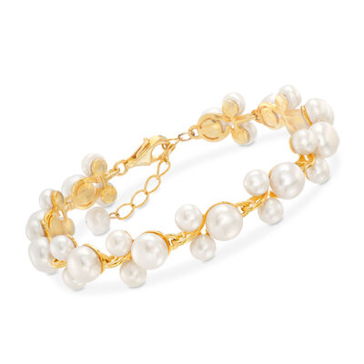 5-7.5mm Cultured Pearl Pearl Trio Bracelet in 18kt Gold Over Sterling Silver, , default
