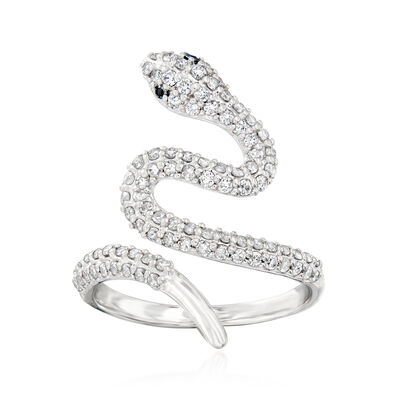 .75 ct. t.w. Diamond Bypass Ring with Black Diamond Accents in Sterling Silver, , default