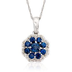 ".90 ct. t.w. Sapphire and .20 ct. t.w. Diamond Flower Pendant Necklace in 14kt White Gold. 16"", , default"