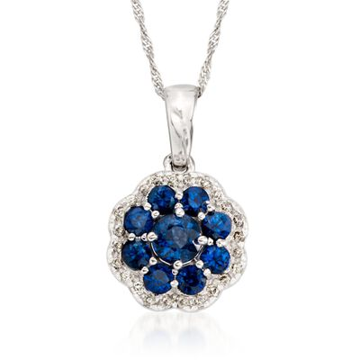 .90 ct. t.w. Sapphire and .20 ct. t.w. Diamond Flower Pendant Necklace in 14kt White Gold, , default