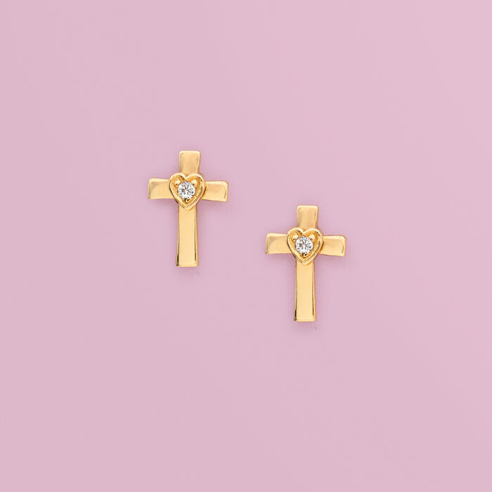 Child's 14kt Yellow Gold Cross and Heart Earrings with CZ Accents