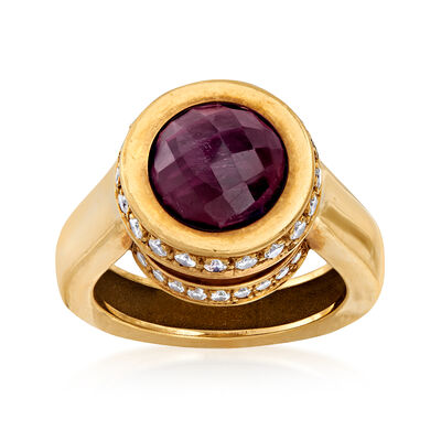 C. 1990 Vintage 5.00 Carat Amethyst and .75 ct. t.w. Diamond Ring in 18kt Yellow Gold, , default
