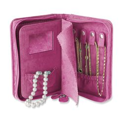 French Rose Microsuede Travel Jewelry Case, , default