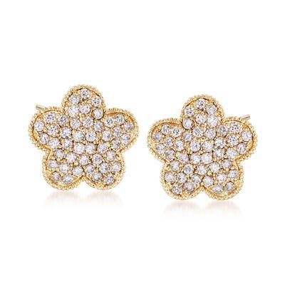 .79 ct. t.w. Diamond Flower Stud Earrings in 14kt Yellow Gold