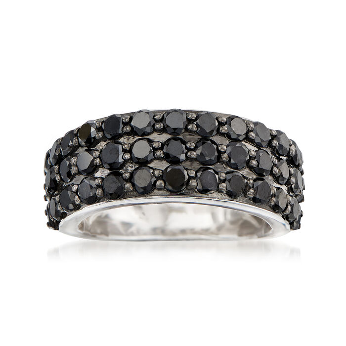 3.00 ct. t.w. Black Diamond Three-Row Ring in Sterling Silver