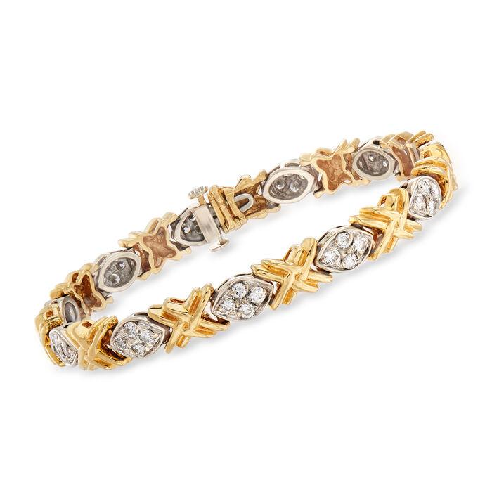 "C. 1990 Vintage 2.20 ct. t.w. Diamond XO Bracelet in 14kt Two-Tone Gold. 6.75"", , default"