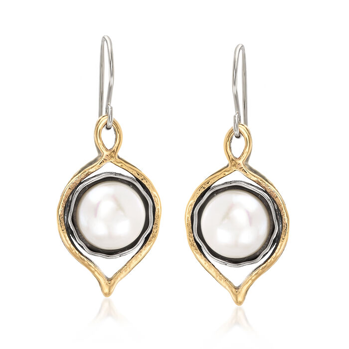 9.5-10mm Cultured Freshwater Pearl Drop Earrings in 14kt Yellow Gold and Sterling Silver, , default